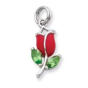 Sterling Silver Green CZ & Red Enamel Flower Charm Jewelry