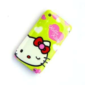 Hello Kitty pink heart Green Case Cover for iphone 3 3G Cell