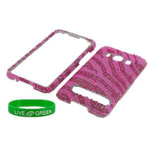 Hot Pink Zebra Full Rhinestones Design Snap On Hard Case
