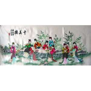 Big Chinese Silk Embroidery Wall Hanging 10 Beauty