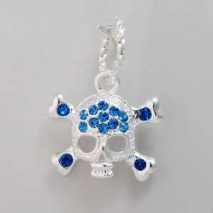 Halloween Skull Blue Crystals Silver Plated Dangle Charm