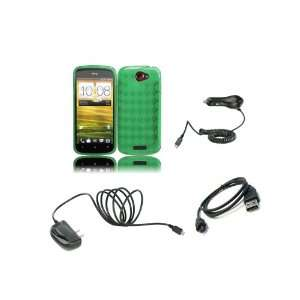 One S (T Mobile) Premium Combo Pack   Neon Green Argyle TPU Gel Case