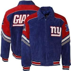 Giants Royal Blue Suede Full Zip Varsity Jacket Sports & Outdoors