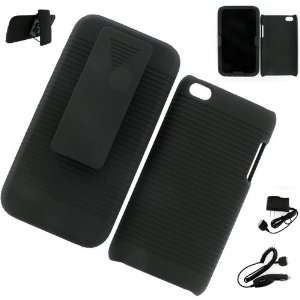 Apple iPod Touch 4G HOLSTER CASE BLACK + WALL CHARGER