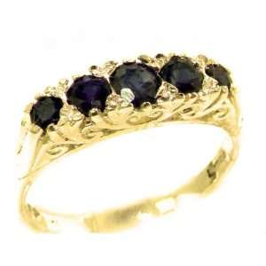 Luxury Solid Yellow Gold Natural Deep Blue Sapphire Victorian Style