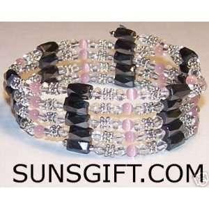 CLEAR CRYSTAL Magnetic Bracelet HOT PINK