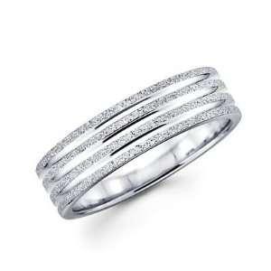 Solid 14k White Gold Womens Mens Sand / Satin Finish Wedding Ring Band