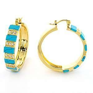 Brass with Aqua Marine Synthetic Turquoise Earrings, Weight 16.80gm