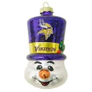 Minnesota Vikings NFL Top Hat Snowman Glass Ornament