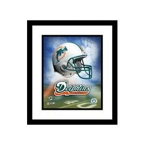 Miami Dolphins NFL Team Logo and Football Helmet Collage Framed 8 x