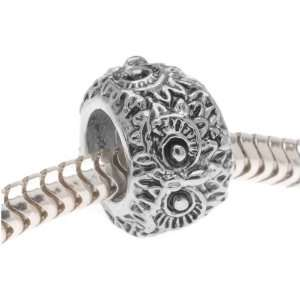 Silver Tone Large Hole Bead   Owl Eyes   Fits Pandora