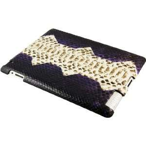 100% Genuine Python Snake Leather iPad 2 Case   Violet/Natural: