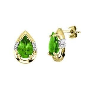 Pear Shape Peridot (August Birthstone) & Diamond Earrings