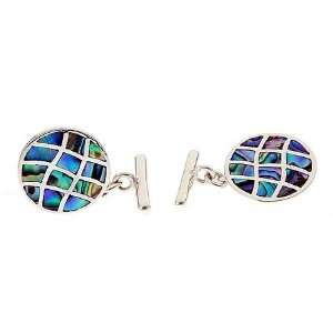Sterling silver cufflinks with abalone accents Jewelry