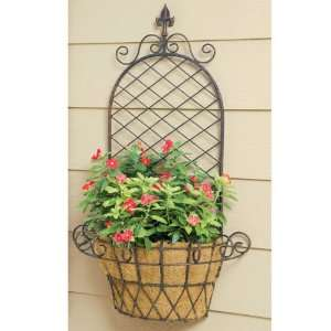 Wrought Iron Finial X Wall Basket Planters with Coco Liners Set of Two