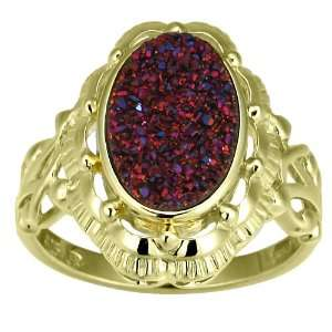 Gold Plated Sterling Silver Pink Drusy Quartz Ring, Size 7 Jewelry