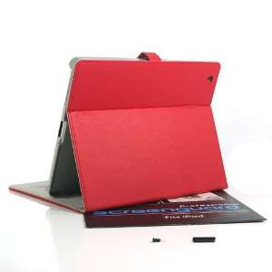 ZuGadgets Red Leather Folio / Flip Stand Case Cover for