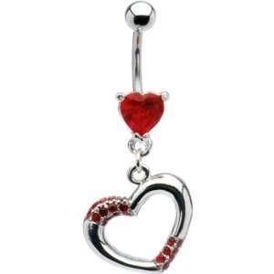 Ruby Red Jeweled Hollow Heart Belly Ring Jewelry