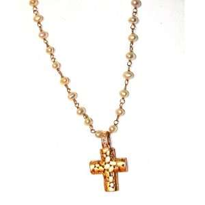 Rose Gold Plated CZ Crystals Cross Freshwater Pearl Necklace Jewelry
