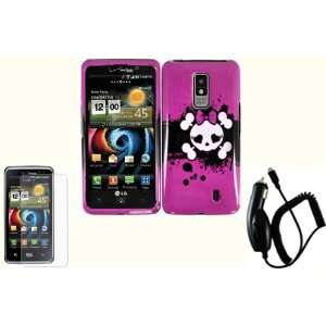 Pink Skull Hard Case Cover+LCD Screen Protector+Car