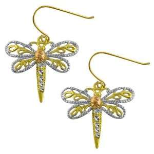 14 Karat Tri Color Gold Dragonfly Dangle Earrings Jewelry