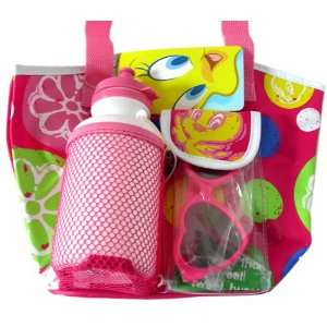 Looney Tunes Tweety Bird Tote Bag w/ Bottle and Sunglasses (Pink color