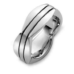 Unique 18 Karat White Gold High Polish Wedding Band Ring