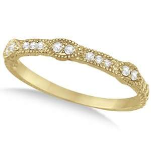 Pave Set Vintage Stacking Diamond Ring Band 14k Yellow Gold