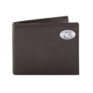 Pebble Grain Leather Bifold Concho Wallet, One Size