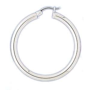 14kt White Gold 4mm Hoop Earrings Jewelry