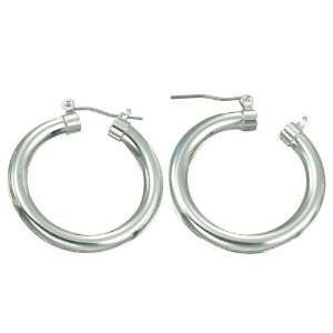 White Gold Plated 30mm Hoop Earrings Jewelry