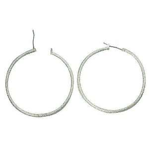 White Gold Plated 50mm Hoop Earrings Jewelry