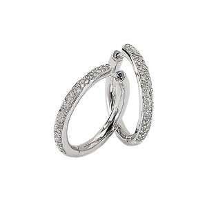 14K White Gold 3/8 ct. Diamond Hoop Earrings Katarina
