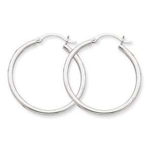 14k Gold White Gold 2mm Hoop Earrings Jewelry