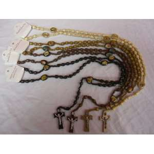 4pc Wood Rosary Cross Prayer Beads Set Christian Necklace Chain Jesus