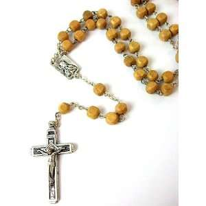 Wood Beads Silver Plated Rosary Necklace Cross Crucifix