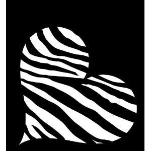 Heart Zebra Style Black & White Stripes Decal Sticker Die