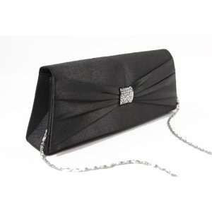 Sophisticated Black Satin flap evening Purse