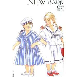 Pattern 6570 Little Girl Sailor Dress, Top Shorts & Hat Size 3 8 years