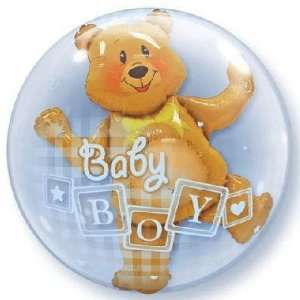 Baby Balloons   24 Baby Boy Blocks & Bear Bubble
