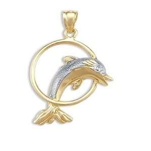 Dolphin Pendant 14k White Yellow Gold Jump Hoop Charm