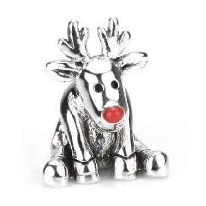 Moress Red Nose Reindeer   Christmas Holiday European Charm Bracelet