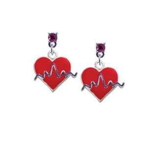 Red Heart with Rhythm Line Hot Pink Swarovski Post Charm