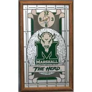 Marshall Thundering Herd Framed Glass Wall Clock Sports