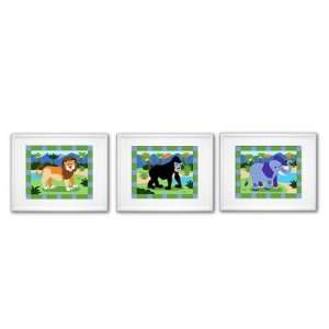 Olive Kids FW WILD 308 White Wild Animals Framed Print