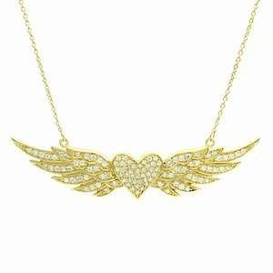 Hayleys Flying Heart Pave CZ Angel Wing Necklace, Gold, 1 ea Jewelry