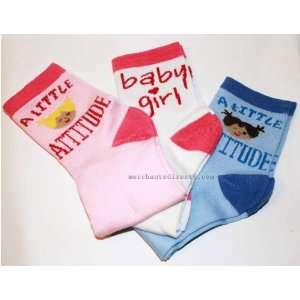 Ladies / Girls, Attitude, Baby Girl, 3 Pair Socks, Size 5