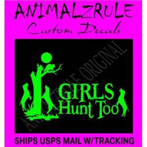 GIRL COON HUNTING LARGE DECAL 12x20 LIME GREEN