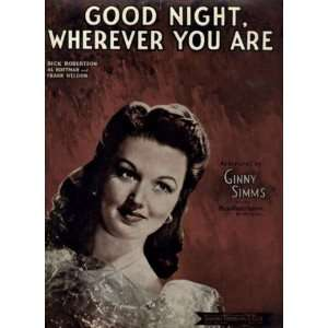 Good Night, Wherever You Are Vintage 1944 Sheet Music recorded by