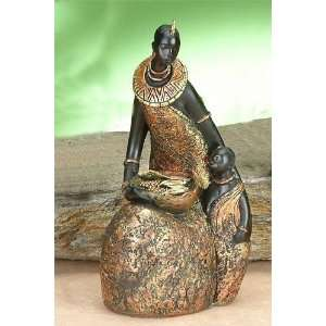 African Tribal Mother Holding Food Children Model Figurine Figure